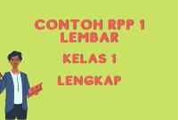 Contoh RPP 1 Lembar Kelas 1