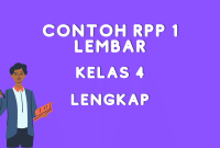Contoh RPP 1 Lembar Kelas 4 Daring