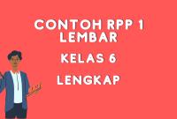 Contoh RPP 1 Lembar Kelas 6 Daring